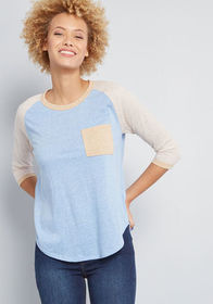 Lost and Lounge Baseball Tee in Muted Blue
