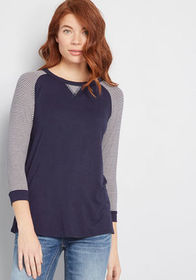 Mission to Chill Raglan Top in Navy Blue Stripes