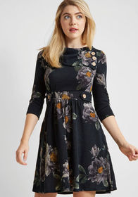 Coach Tour A-Line Dress in Forest Floral - 3/4 Sle