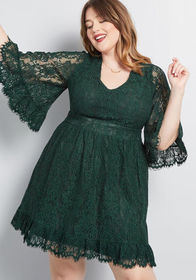 ModCloth Through the Bluebells Lace Dress Forest G