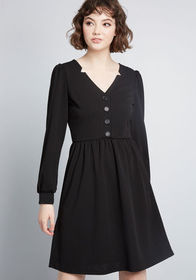 Noted Notches Long Sleeve Dress Black