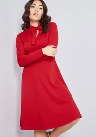 Flaunted Confidence Long Sleeve Dress Red