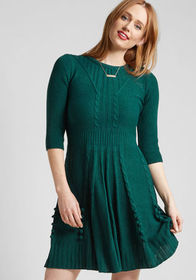 Warm Cider Sweater Dress in Forest
