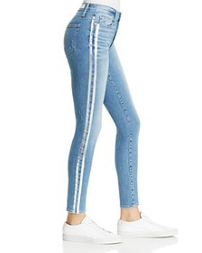 PAIGE - Hoxton Striped Ankle Skinny Jeans in Soto