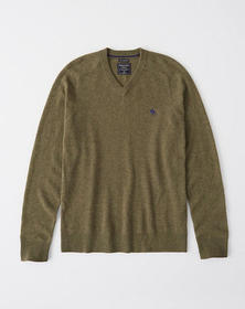 Cashmere Icon V-Neck Sweater, OLIVE GREEN
