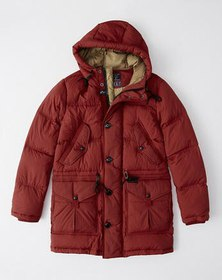 Quilted Down-Filled Parka, RED