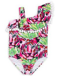 Betsey Johnson Girl's One-Shoulder One-Piece Swims