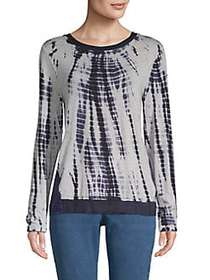 Donna Karan Printed Long-Sleeve Top GREY