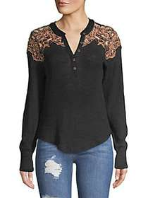 Free People Easy Breezy Henley Top BLACK