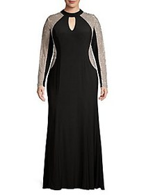 Xscape Plus Caviar Embellished Evening Gown BLACK