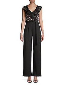 QUIZ Ruffle Lace Crepe Jumpsuit BLACK