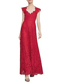 BCBGMAXAZRIA Scalloped Lace Gown BURNT RED