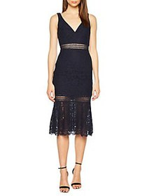 Bardot Sienna Lace Trumpet Dress ASH BLUE