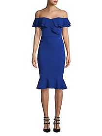 QUIZ Off-The-Shoulder Ruffle Sheath Dress BLUE
