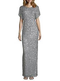 Adrianna Papell Beaded Column Gown BLUE MIST