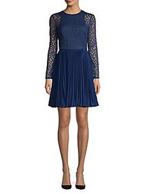 Aidan by Aidan Mattox Lace Fit-&-Flare Dress NAVY