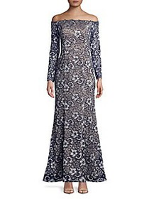 Xscape Floral Lace Off-The-Shoulder Gown NAVY NUDE