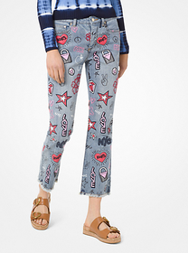 Michael Kors Embroidered Cropped Jeans
