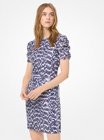 Michael Kors Sequined Lace Ruched-Sleeve Dress