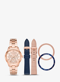 Michael Kors Runway Rose Gold-Tone and Leather Int