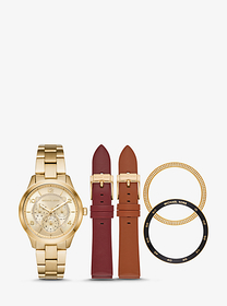 Michael Kors Runway Gold-Tone and Leather Intercha