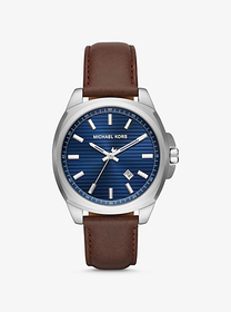 Michael Kors Bryson Silver-Tone and Leather Watch