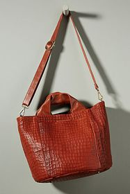 Anthropologie Carla Embossed Leather Tote Bag