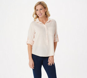 Side Stitch Tencera Curved Hem Top with Roll-Tab S