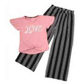 Girls (7-16) One Step Up 2pc. Love Top & Stripe Pa