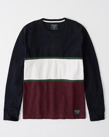 Colorblock Crewneck Sweatshirt, NAVY AND BURGUNDY