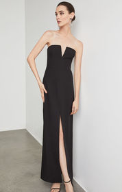BCBG Notched V Strapless Gown