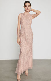 BCBG Sleeveless Lace Applique Gown