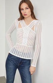 BCBG Long Sleeve Striped Lace Top