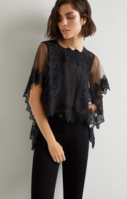 BCBG Bailie Embroidered Tulle And Lace Top