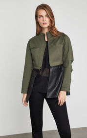 BCBG Faux Leather-Trimmed Peplum Jacket
