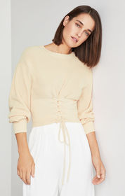 BCBG Lace Up Crop Sweater