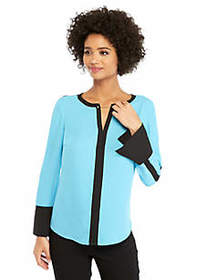 The Limited Contrast Bell Sleeve Blouse With Metal