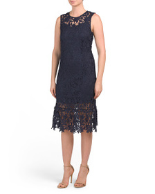 ABS COLLECTION Lace Illusion Midi Dress