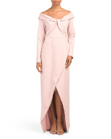 KAY UNGER Stretch Crepe High Slit Gown