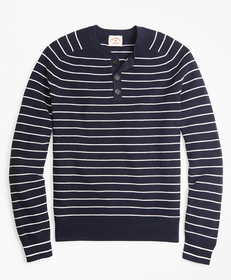 Brooks Brothers Striped Cotton Henley Sweater