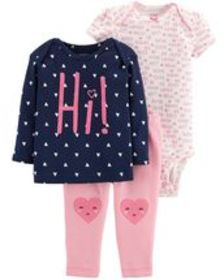 carters Baby Girl 3-Piece Little Character Set