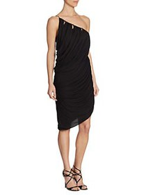Halston Heritage One-Shoulder Drape Dress BLACK