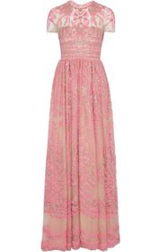 VALENTINO Bead-embellished embroidered tulle gown