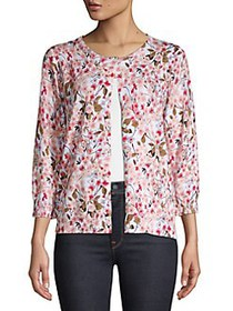 Joseph A Gillian Floral Three-Quarter Knit Cardiga