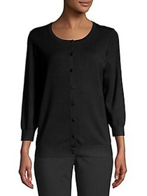 Joseph A Knit Button Up Front Cardigan BLACK