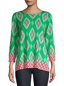 Joseph A Printed Long-Sleeve Pullover WATERMELON