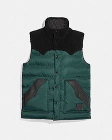 Coach lightweight printed nylon vest with shearlin