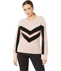 Vince Camuto Long Sleeve Tinsel Crew Neck Chevron
