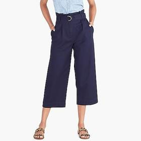 J. Crew factory womens Wide-leg crop pant with bel