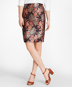Brooks Brothers Floral Jacquard Pencil Skirt